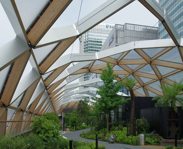 """""""Looking east through the garden above Crossrail's Canary Wharf railway station."""" by Matt Buck at Flickr. Licensed under CC BY-SA 2.0 via Commons."""