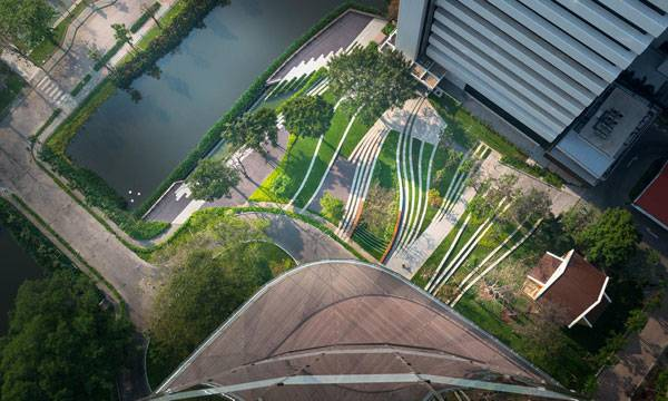 A bird's eye view of newly designed SCG landscape through the preservation of its history with a contemporary form for the future. . Image courtesy of Landscape Architects of Bangkok