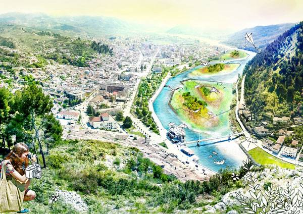 Seasonal Isles, a Drought-and Flood Resilient Future for Berat. Image courtesy of Felixx