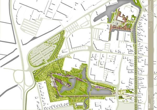 Masterplan of Stadtpark Papenburg. Image credit: RMP Stephan Lenzen Landschaftsarchitekten