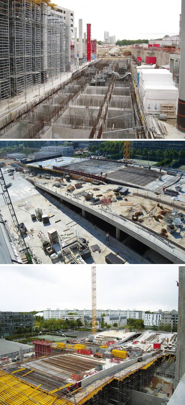 Under construction. Espace Bienvenüe: Paris Est. Scientific and Technical Pole. Images courtesy of Jean-Philippe Pargade Architecte.