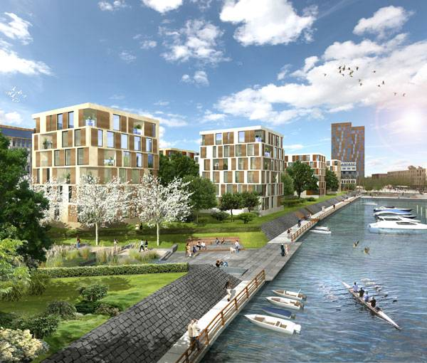 Offenbacher Hafen Turns from Polluted Industrial Port to Ecological Riverfront. Image credit: Atelier Dreiseitl.