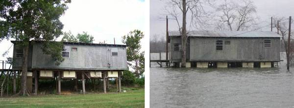 Old River landing fishing community located in the flood prone areas of the Mississippi River turned their houses amphibious some 30 years ago. Photo credit: The Buoyant Foundation
