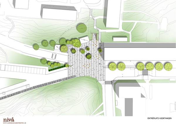 Masterplan of Hjorthagen Entrance Square. Image courtesy of Nivå Landskapsarkitektur AB