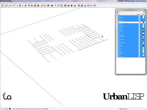 The plots in SketchUp. Printscreen via Rob Koningen