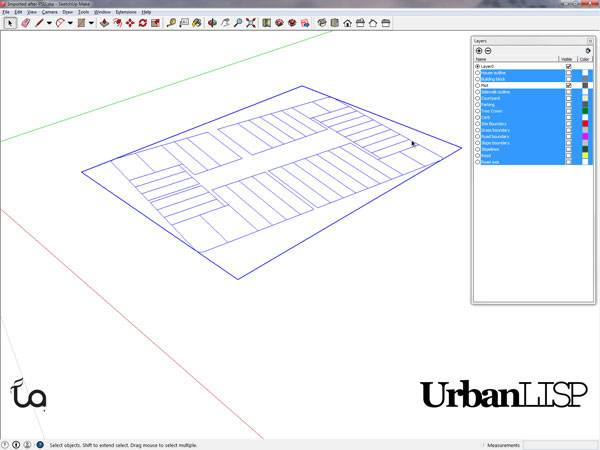 The plots are complete in SketchUp due to the 'Prepare for SketchUp' command. Printscreen via Rob Koningen