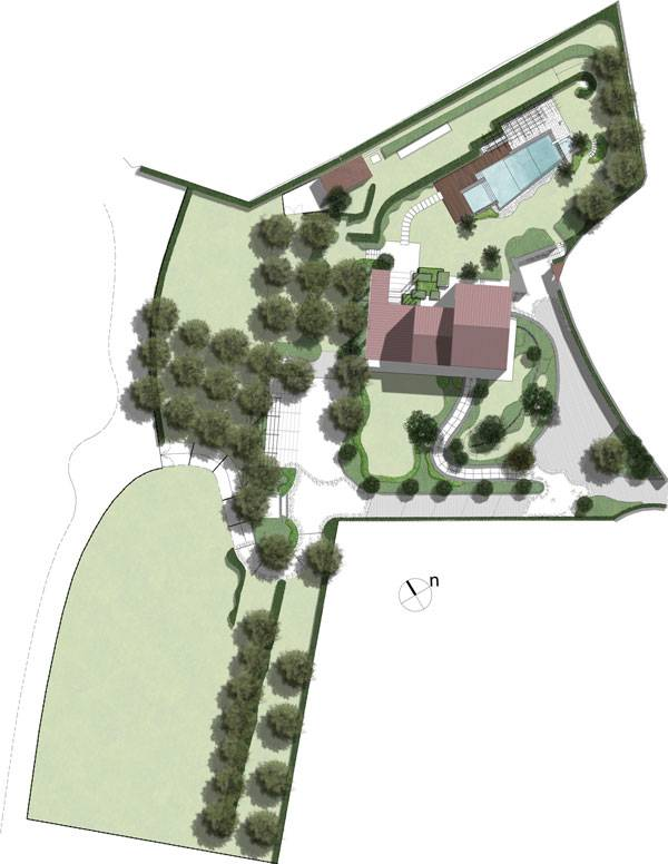 The masterplan of the private resisidence garden. Image courtousy of