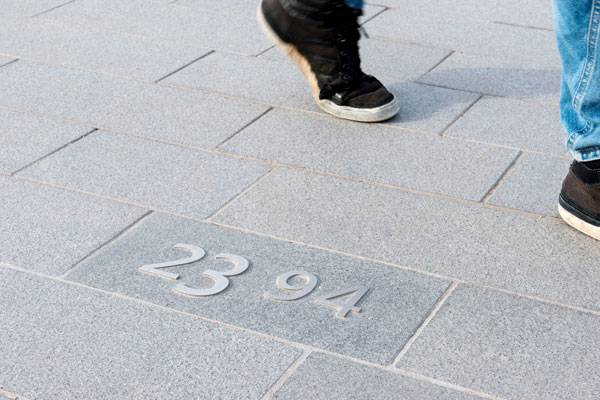 Detail stainless steel number. Photo credit: Ben Ter Mull Lowres