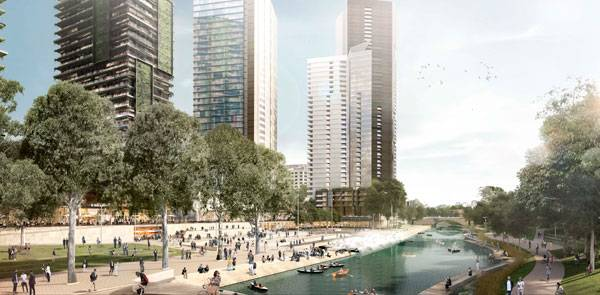 The design for Australian landscape architecture and urban design firm McGregor Coxall's Parramatta River Urban Design strategy aims to revitalize the business district through an innovative urban realm and four dynamic, mixed-use precincts, creating an active waterfront where the city can celebrate its public life. Image courtesy of McGregor Coxall.