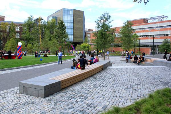 Benches serve as central gathering element. Photo credit B. Doherty Photography