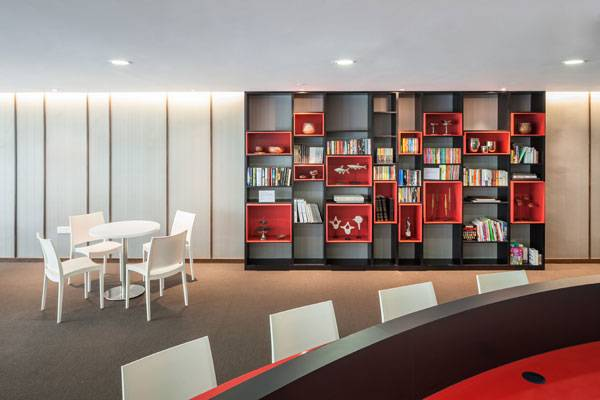 A tastefully decorated 82 seat library within the residential development. Photo credit: Marc Tey