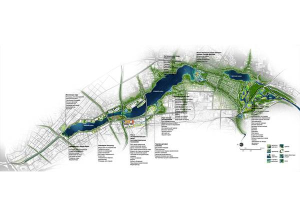 Overall Master Plan design of the Kaban Lakes System. Image courtesy of Turenscape