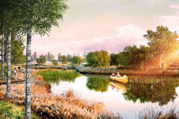 Upper Kaban Lake Embankment with the designed natural environment. image courtesy of Turenscape