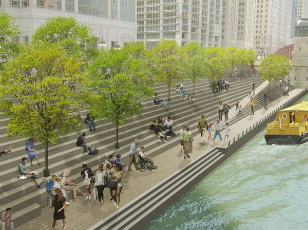 Digital rendering of Chicago Riverwalk Expansion