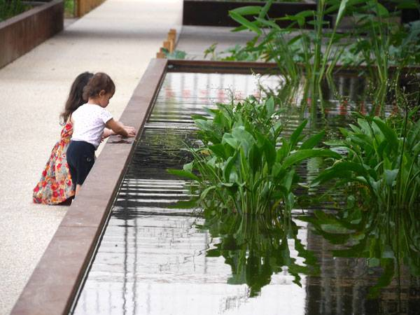 The aquatic gardens and the planted strips. Image courtesy of Atelier De Paysages Et D'Urbanisme