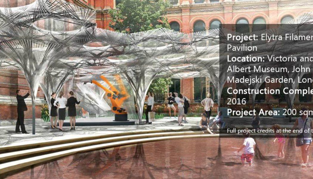 Elytra Filament Pavilion construction (c) Victoria and Albert Museum, London