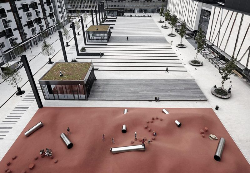 Designing a Barcode Patterned Square: Täby Torg Square by Polyform Architects