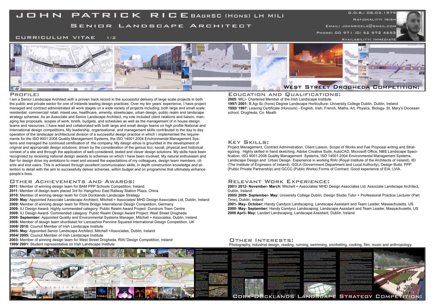 John Rice Senior Landscape Architect curriculum vitae Page 1