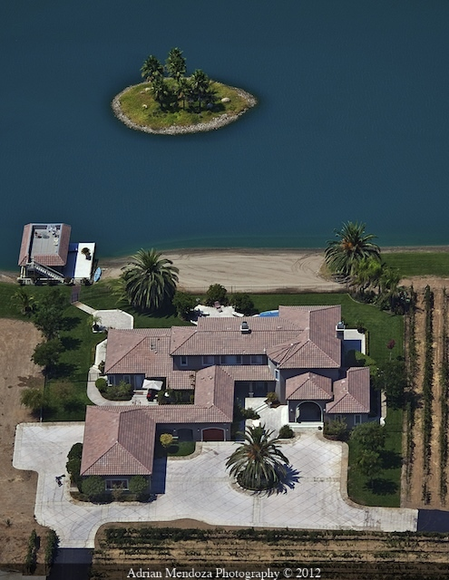 Aerial Photo of a Home on a Private Lake in the California Delta