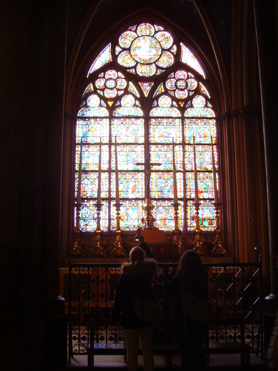 Stained glass windows in Notre Dame