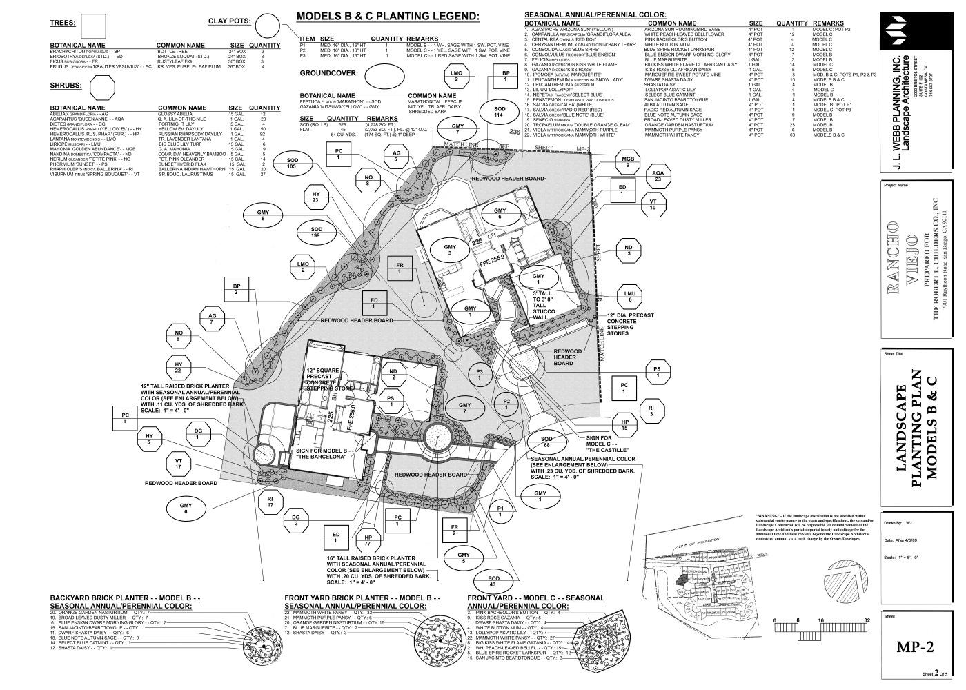 2017 Full Size B & C Model Planting Plans Rancho Viejo