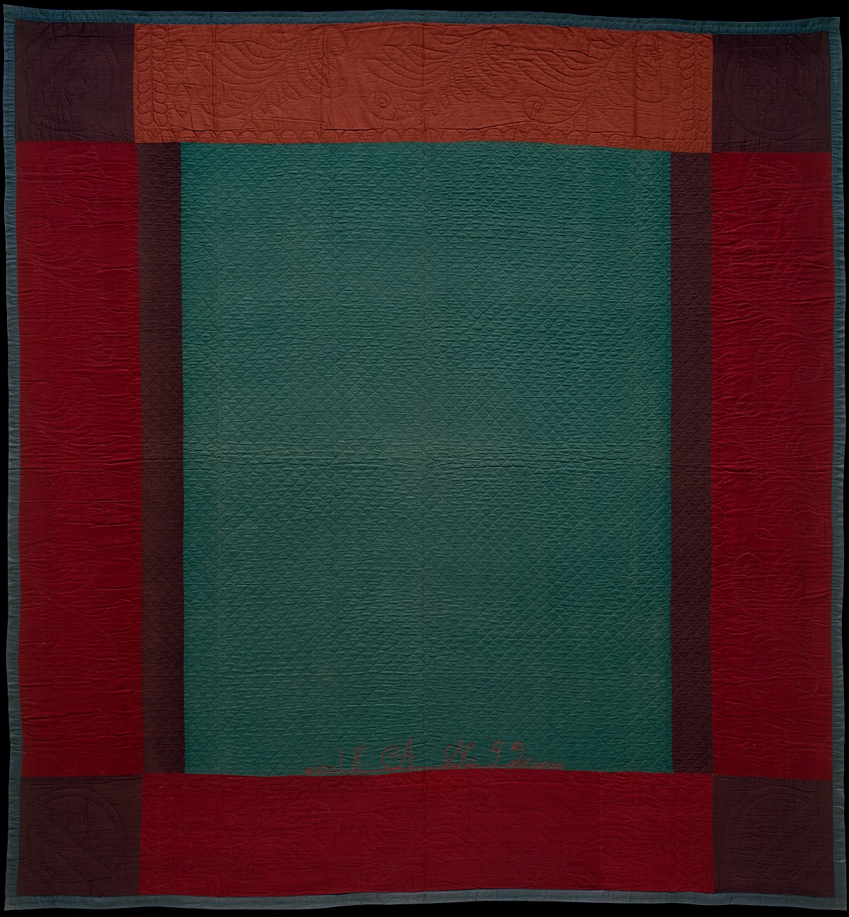 An Amish quilt made in Lancaster County, Pa., dating from 1892 and in the collection of the Metropolitan Museum of Art, New York.
