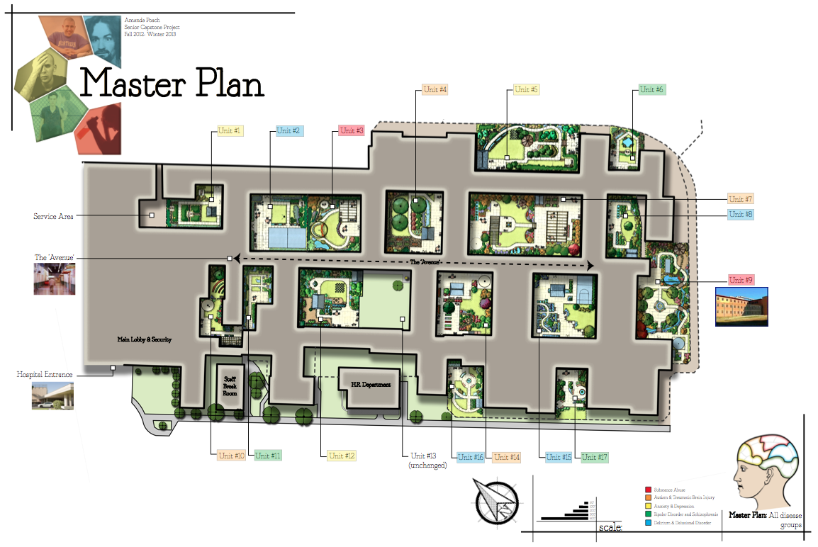 Senior Project- Master Plan, All 17 Courtyards of 17 Psychiatric Units of Atascadero State Hospital