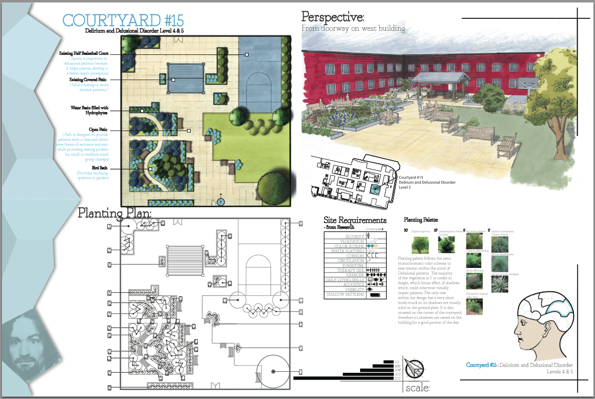 Senior Project- Delirium & Delusional Disorder Level 4 & 5 Courtyard- Blow-Up, Perspective, & Planting Plan