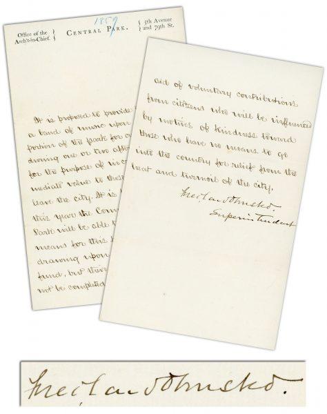Frederick Law Olmsted's 1859 Letter Describing Vision for Central Park