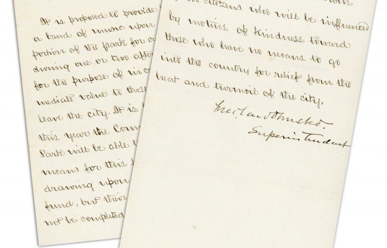 Frederick Law Olmsted's 1859 Letter Describing Vision for Central Park