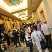 Caption: Opening night Expo Happy Hour featured Vectorworks staff showcasing Vectorworks Landmark, Architect, and Spotlight, plus related vendors like Bluebeam and Canon. Photo: Jason Dixson Photography