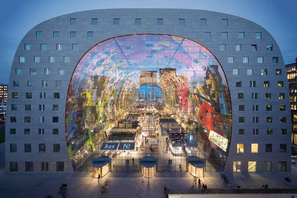 The Markthal from the West at dusk by MVRDV ©Ossip van Duivenbode