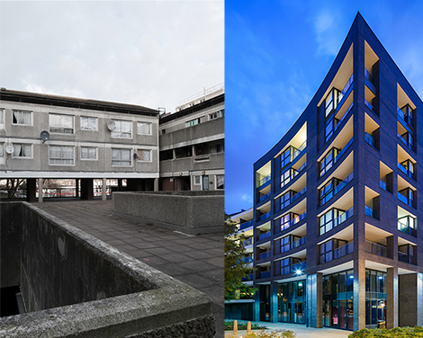Green Man Lane (before and after) by Conran and Partners. Left Jim Stephenson, clickclickjim, Right JZA Photography