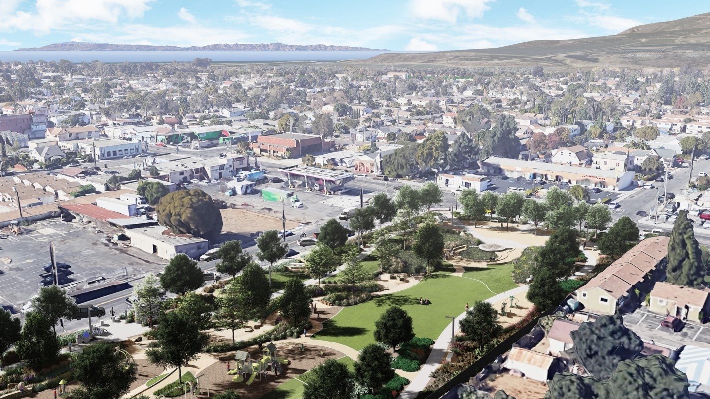An overlay image of Kellogg Park that was modeled in Vectorworks and rendered using Lumion and Photoshop™. Image courtesy of Pacific Coast Land Design, Inc.