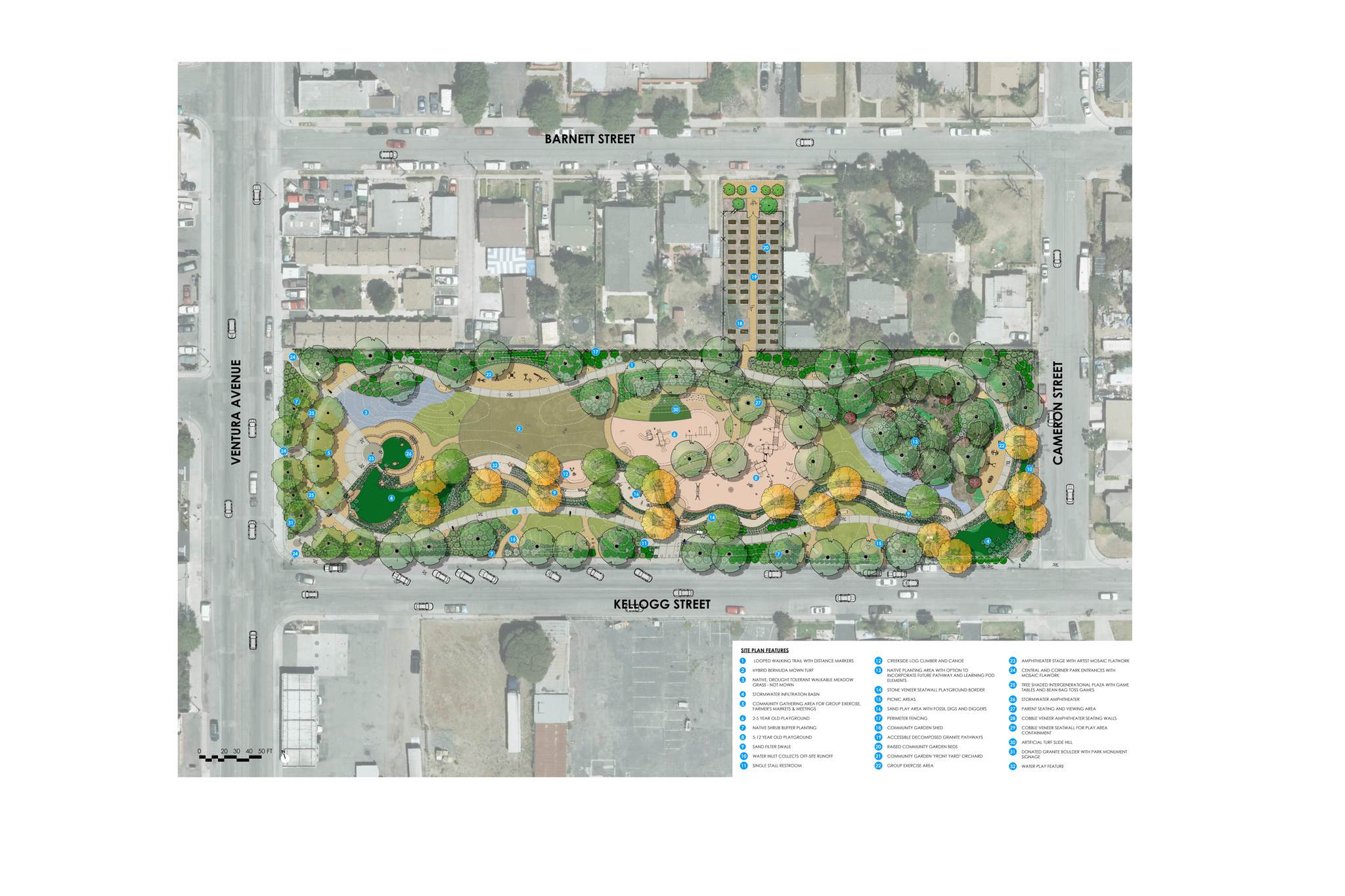 An example of a site plan done in Vectorworks Landmark software for Kellogg Park. Image courtesy of Pacific Coast Land Design, Inc.