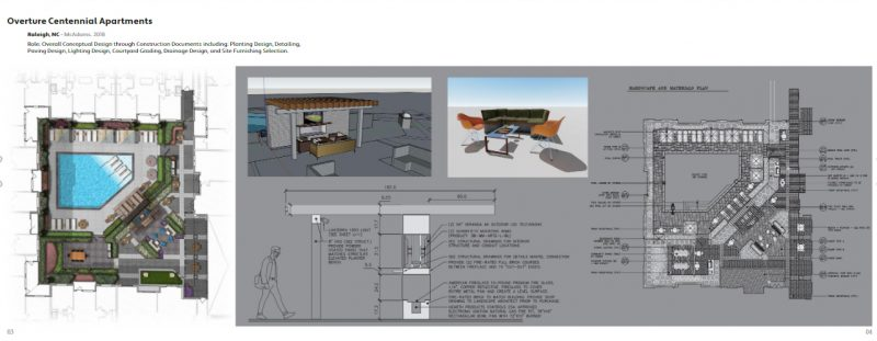 This spread from Ryan Albracht's professional portfolio demonstrates design thinking at multiple scales, with a plan relating to construction details and exports from a 3D model. Albracht is a 3D visualization specialist with McAdams in Durham, North Carolina.