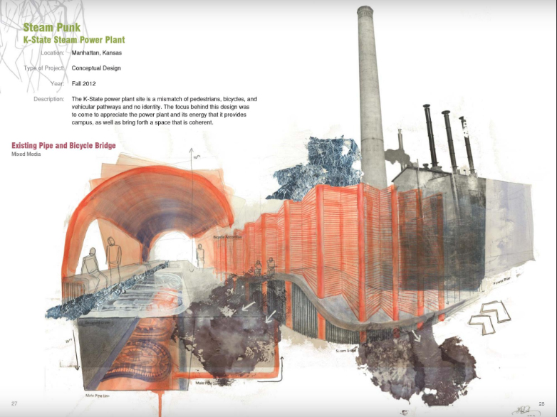 This spread from Elizabeth Levkulich's student portfolio demonstrates explorations of mixed-media drawing in a Jon Hunt's Poetic Image studio at Kansas State University. Levkulich is a landscape designer with TBG Partners in Dallas, Texas.