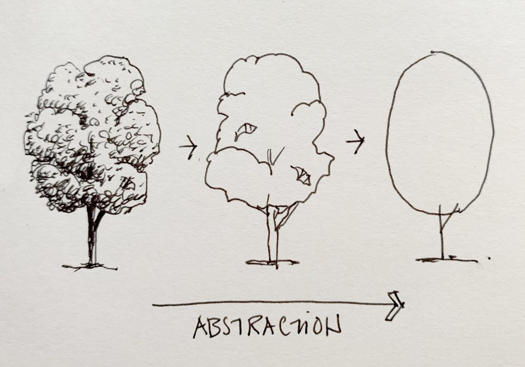 Three sketches of a tree.