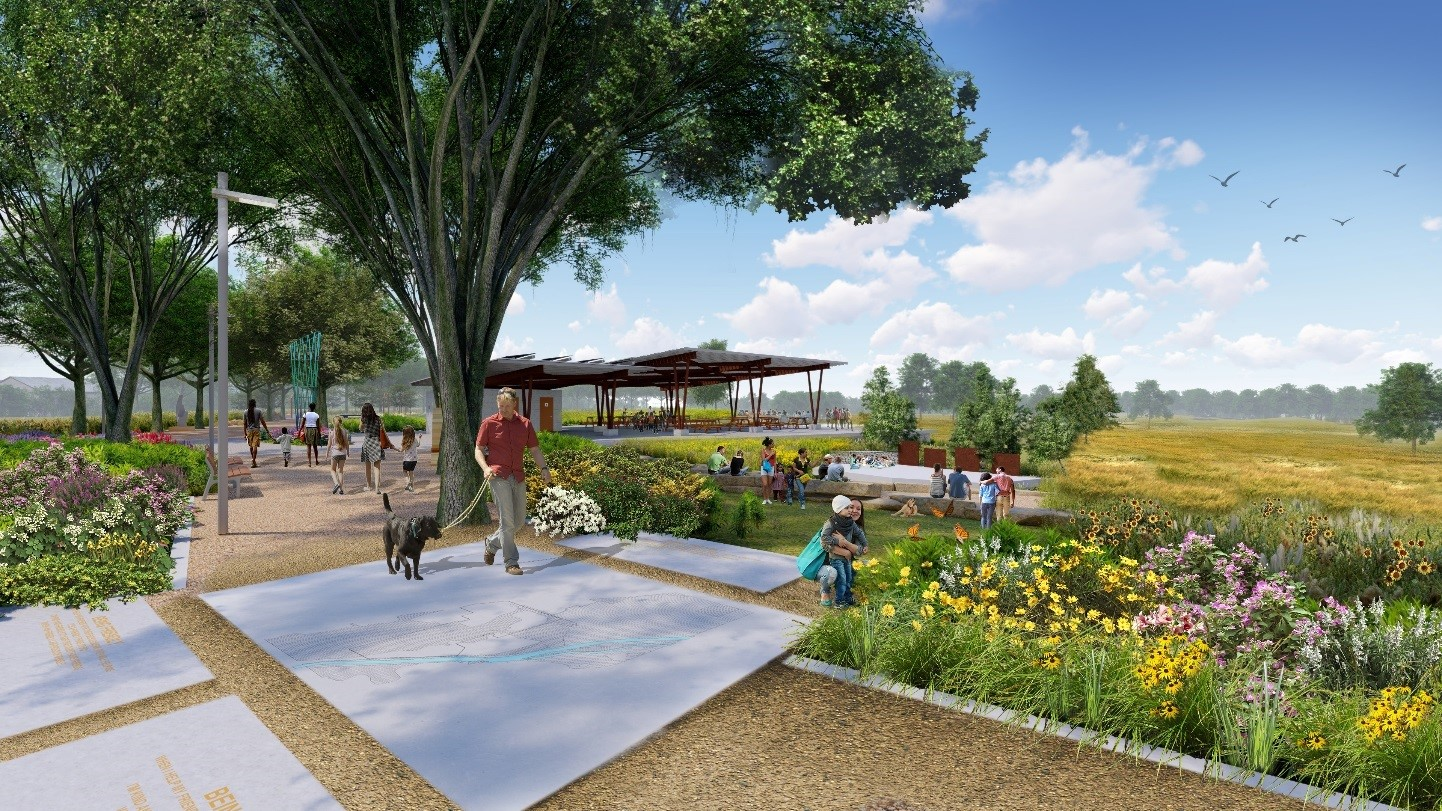 Figure 6: A central Alameda (shaded promenade) and amphitheater will feature pollinator friendly plantings in conjunction with the community facilities. Credit Dig Studio.