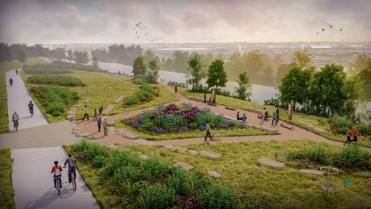 Figure 7: A new connection to the South Platte trail and access to the riverfront, complete with pollinator habitat and places for people to pause and enjoy the open space. Credit Dig Studio.