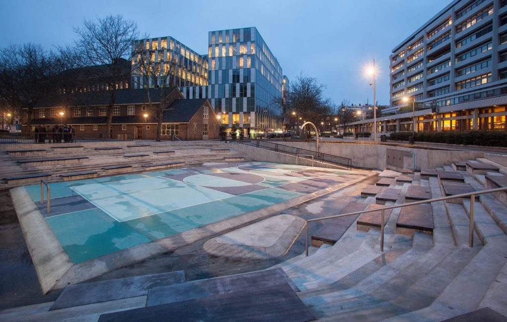 Water square Benthemplein, Rotterdam – concept and design by De Urbanisten, photograph by pallesh+azafane