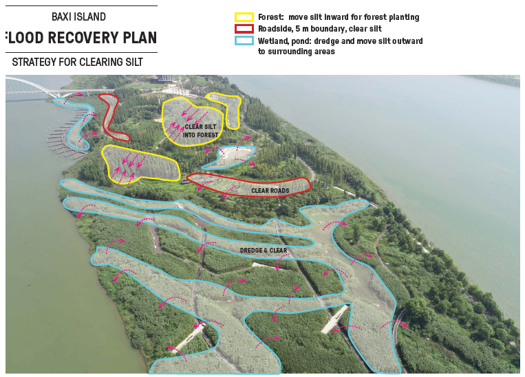 Strategies for clearing silt similarly followed specific plans for distinct areas. Image: swa group
