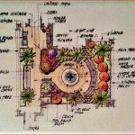 Hand drawn color rendering - Courtyard in South Florida