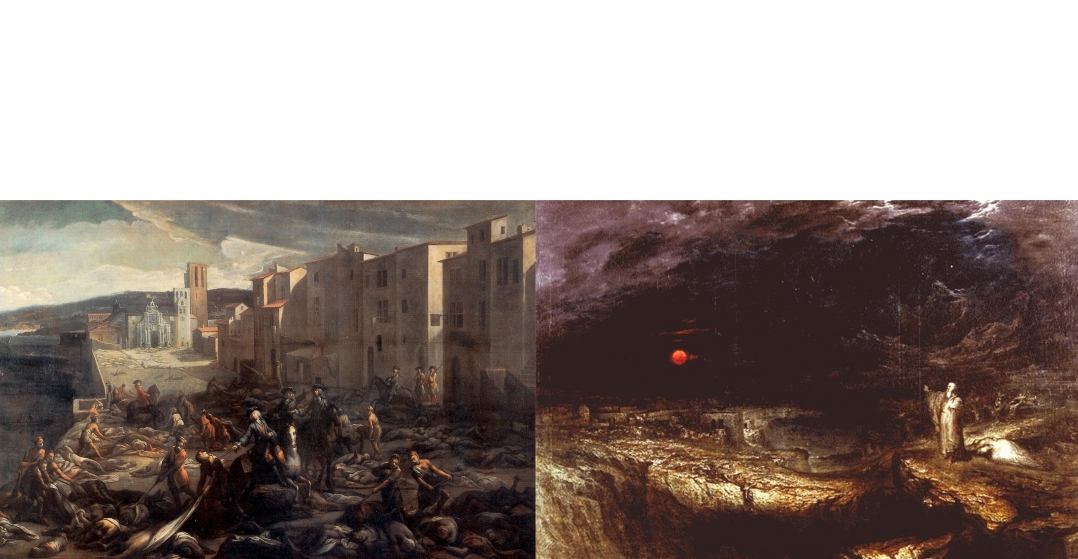 Left, Michel Serre, Scene of the Plague of 1720 at La Tourette, ca. 1721. Right, John Martin, The Last Man, 1849.