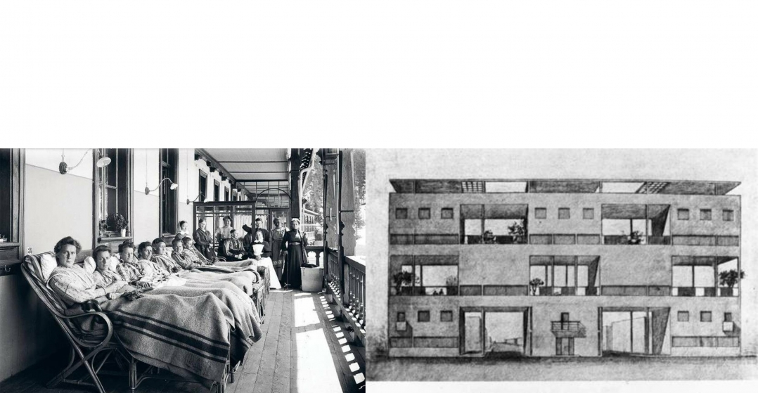 Left, patients on an open-air porch at a sanatorium in Davos, Switzerland, 1910. Right, Le Corbusier's scheme for a housing development near Bordeaux, France.