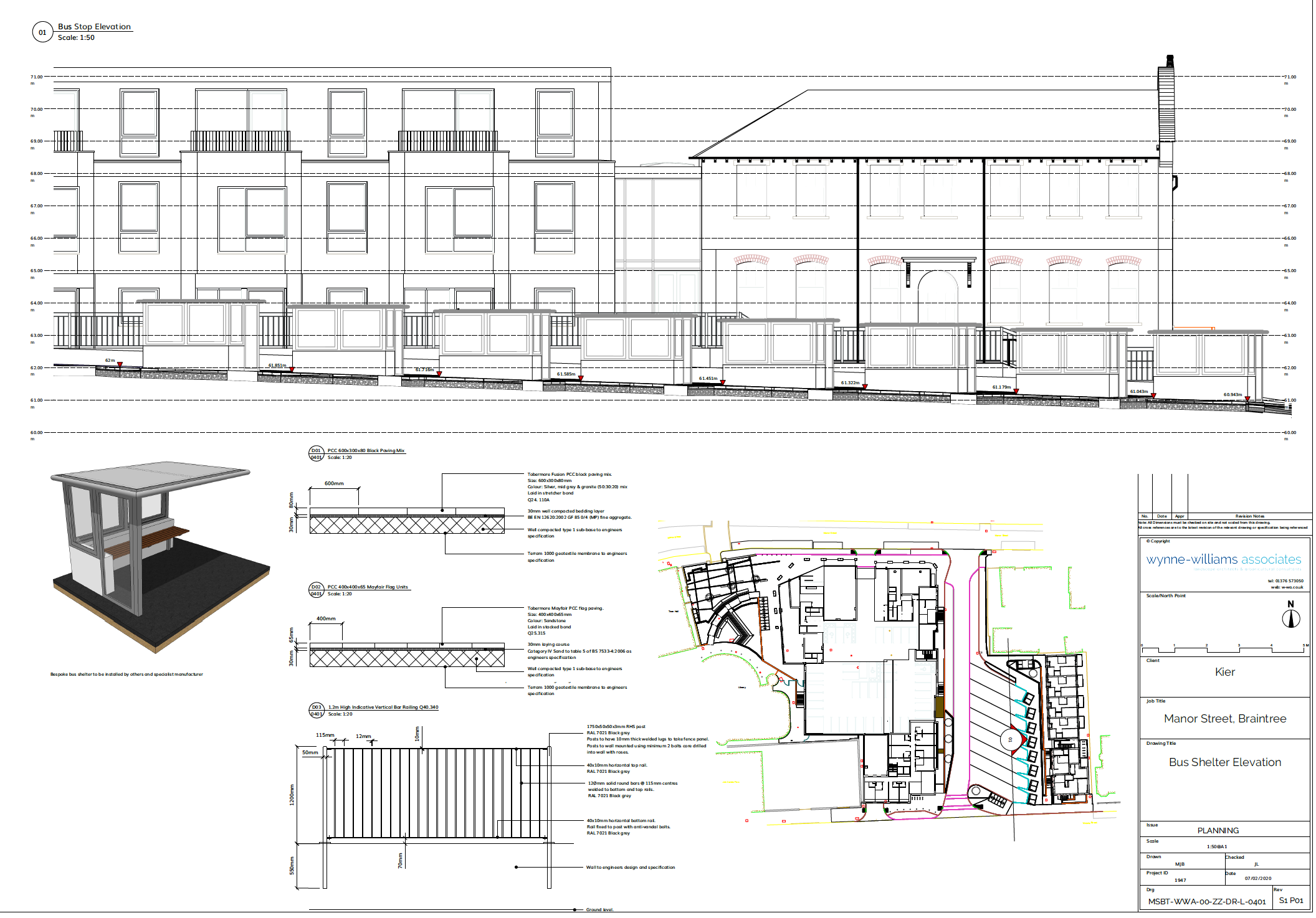 Elevation and detail sheet for the Manor Street project. Courtesy of Wynne-Williams Associates.