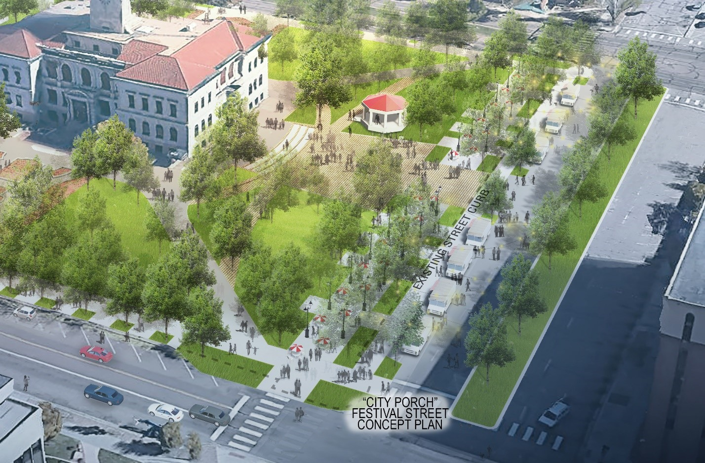 The Colorado Springs Downtown Parks Master Plan designed Alamo Park to overtake one row of on-street parking and a travel lane to create a pedestrian promenade and festival street, providing infrastructure for market and event booths, outdoor dining, and food truck stalls. Source: Design Workshop