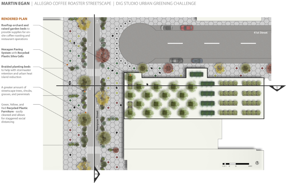 Tennyson Street would become a pedestrian and bike corridor, closed to vehicular traffic for two blocks. The redesigned street would host silva cell infrastructure to support an urban forest, as well as shrubs, grasses and perennials within new planting beds. Image: Dig Studio