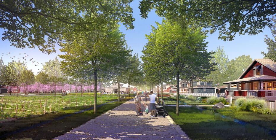 At the center of Middlebrook Farm is central park, a place where flowers, vegetables, and fruits will be grown for the local residents and businesses . This green spine will connect several residential neighborhoods together, anchored at one end with a small community center and at the other with a natural pond/ wetland area. Image: Design Workshop