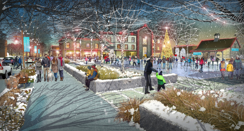 In the middle of the community farm, Middlebrook Farm will provide a primary gathering space that will provide activities year around and become the heart of the community during important holidays like Christmas and New Year's. Image: Design Workshop